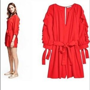 H&M Red Ruffle Romper with Balloon Ruffle sleeves